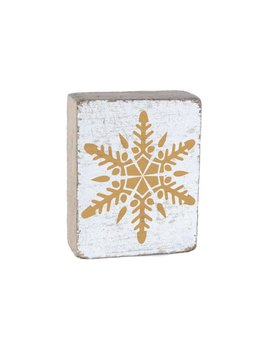 White Tumbling Block, Gold Snowflake