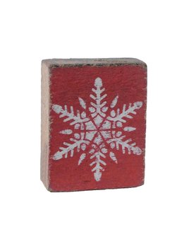 Red Tumbling Block, White Snowflake
