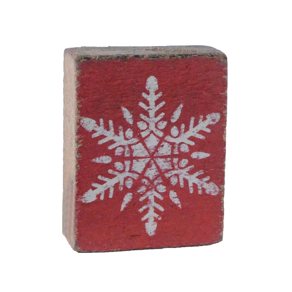 Red Tumbling Block, White Snowflake