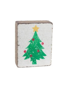 White Tumbling Block, Green Christmas Tree