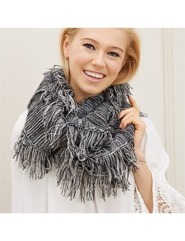 Scarf Knit Infinity Scarf with Fringe