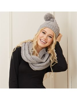 Scarf Knit Hat and Infinity Scarf Set