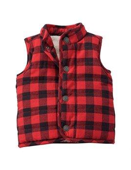 Red & Black Buffalo Check Vest