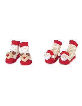 Gold Holiday Rattle Toe Socks