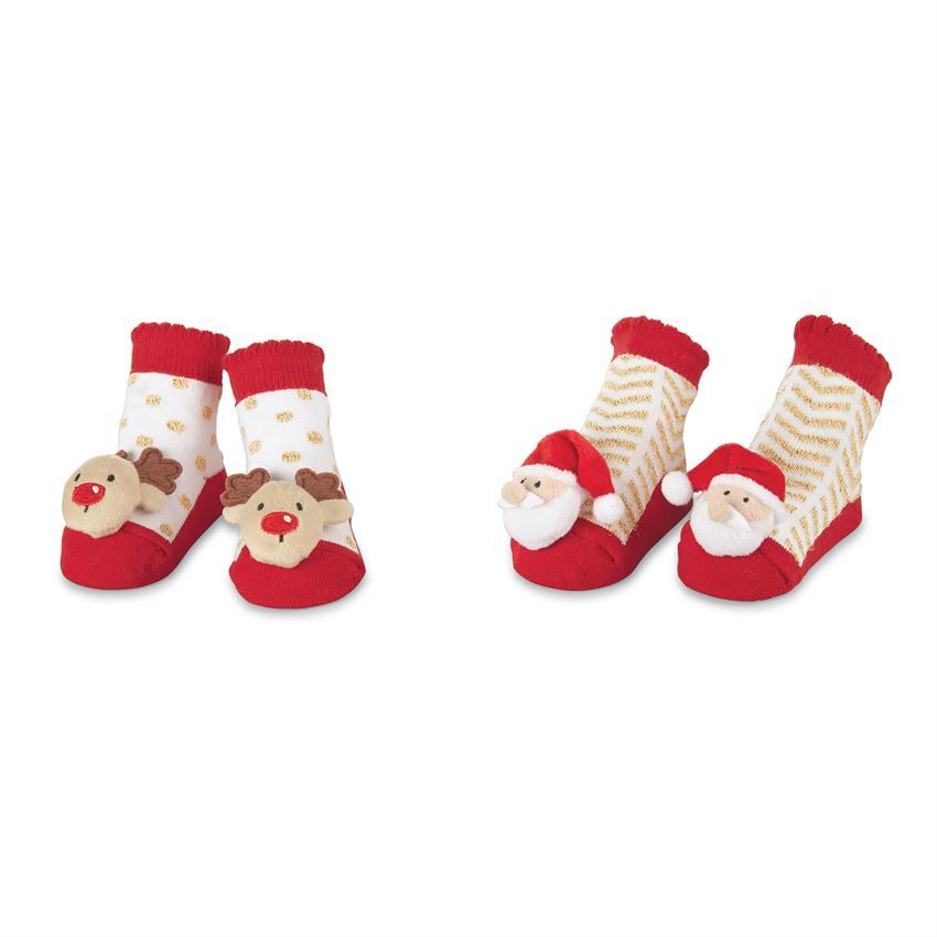 Gold Holiday Rattle Toe Socks
