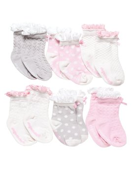 Baby Socks Girls Peek-a-Boo Socks - 6 Pack