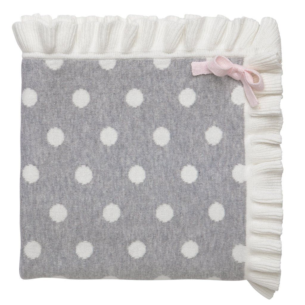 Blanket Ruffle Gray Dot Blanket