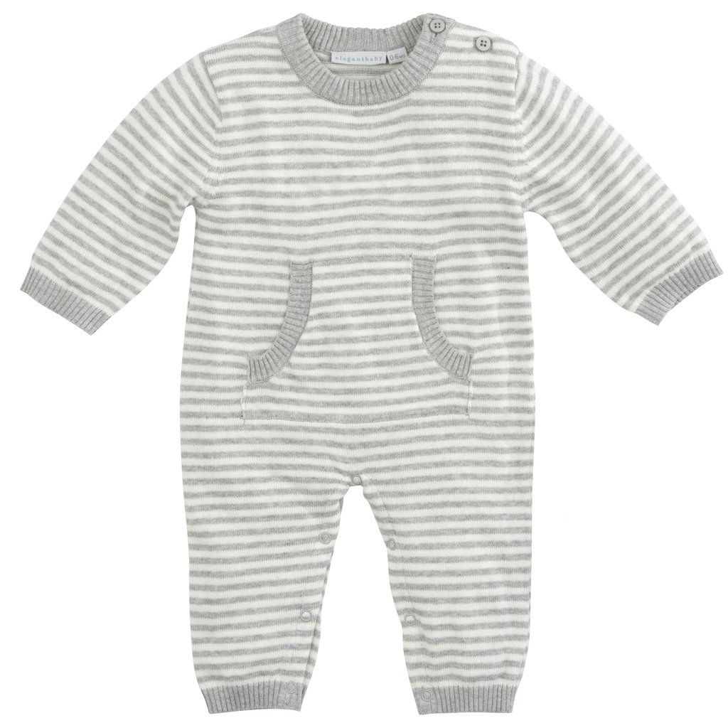 Striped Knit Jumpsuit - Gray 3-6M
