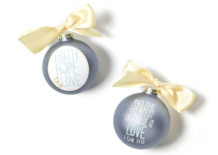 Faith Hope Love Circle Glass Ornament