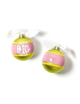 Ornament I'm The Big Sister Striped Glass Ornament