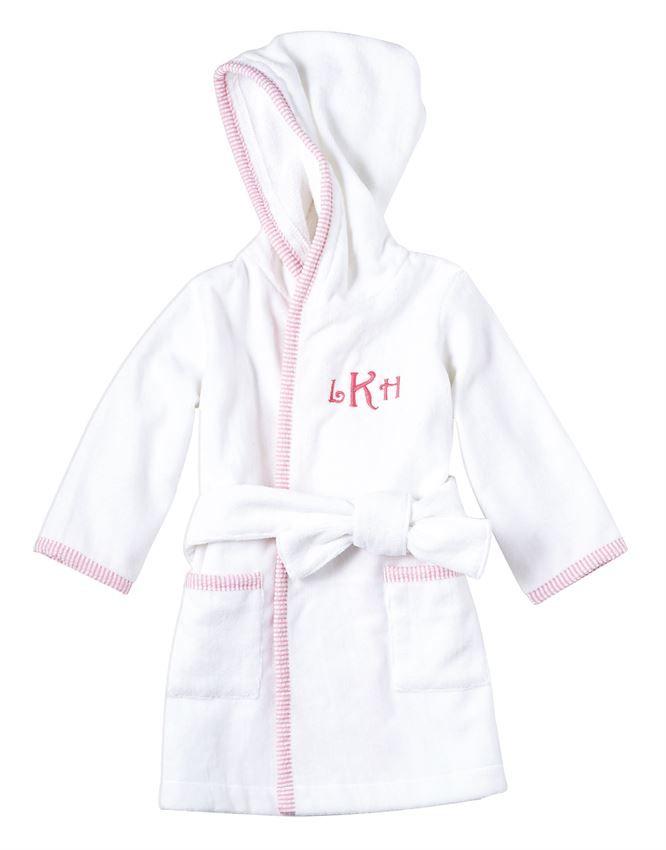 Robe Monogramed Pink Seersucker Hooded Robe