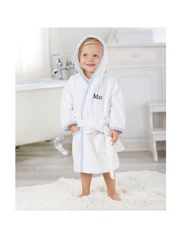 Robe Monogramed Blue Seersucker Hooded Robe