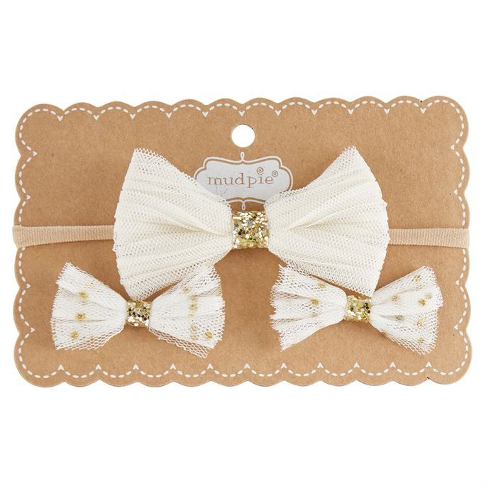 Bow Mesh Bow Headband & Clip Set