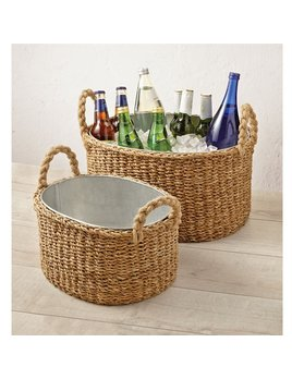 Bucket Seagrass Beverage Tub/Planter Basket Set