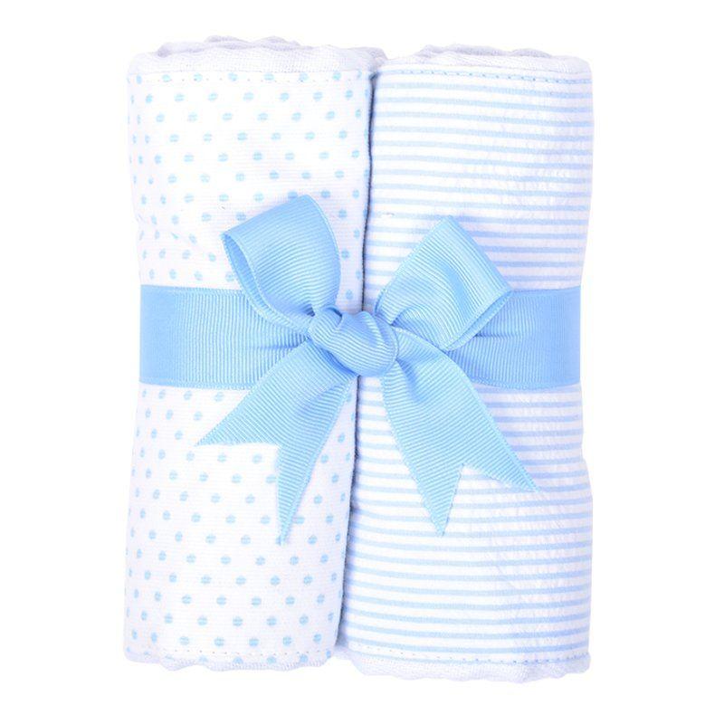 Burp Cloth Blue Bunny Set of Two Burp Cloths
