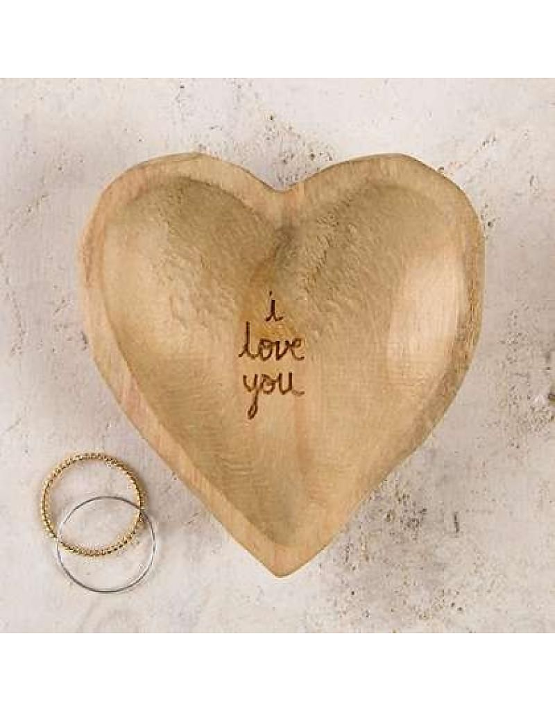 I Love You Wooden Heart Dish