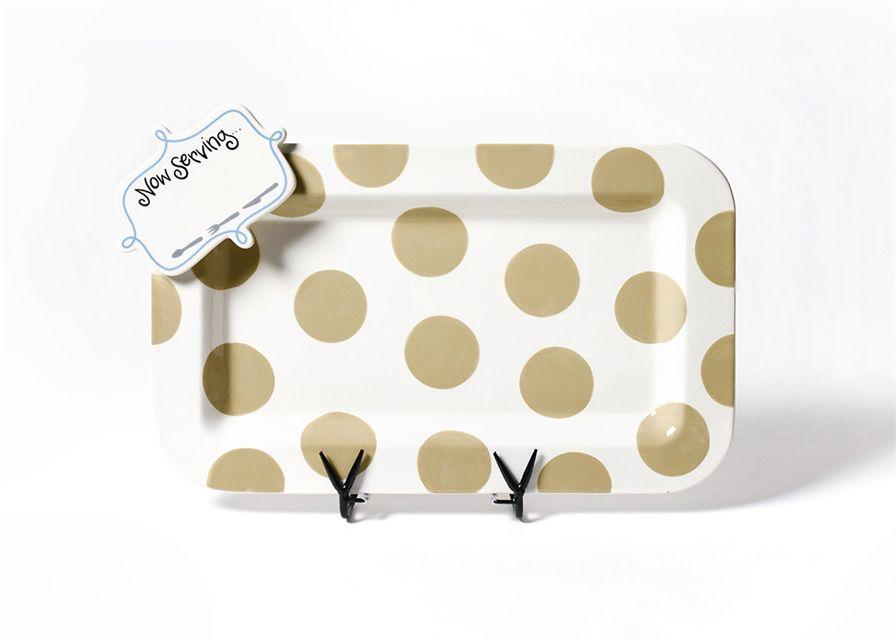Platter Neutral Dot Entertaining Mini Platter with Now Serving Mini Attachment
