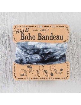 White & Black Tie-Dye Half Boho Bandeau