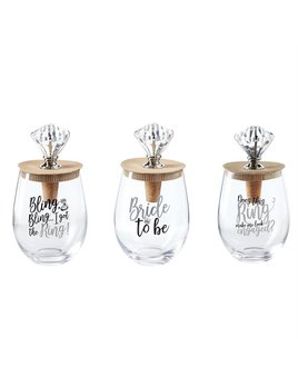 Wine Glass Wedding Bling Wine Glass Topper Set