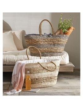 Tote Striped Straw Basket Tote Bag