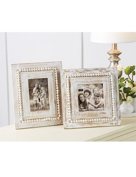Frame White-Washed Rectangle Beaded Frame