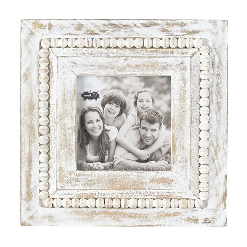 Frame White-Washed Square Beaded Frame