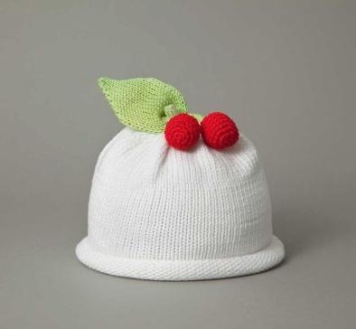 Hat White Cherry Knit Hat