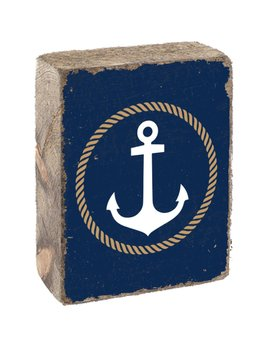 Navy Tumbling Block, White Anchor with Gold Rope Circle