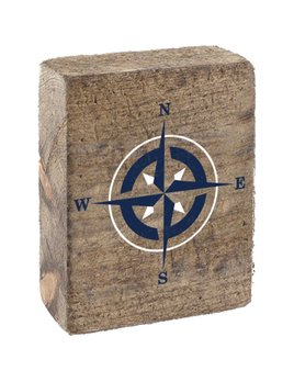 Natural Tumbling Block, White & Navy Compass Rose