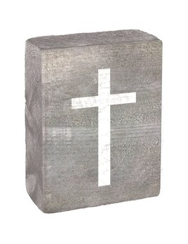 Grey Wash Tumbling Block, White Cross