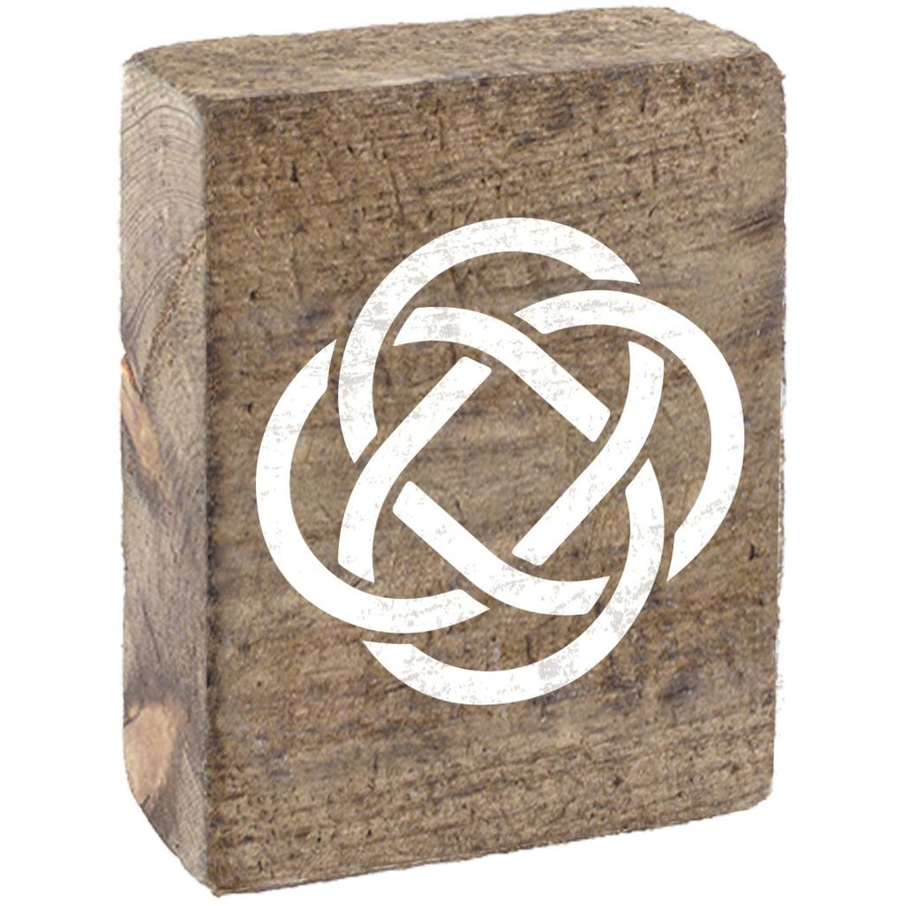 Natural Tumbling Block, White Celtic Knot