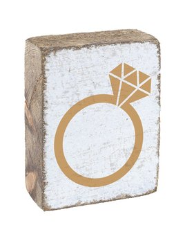 White Tumbling Block, Gold Ring