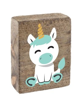 Natural Tumbling Block, White & Sea Glass Unicorn