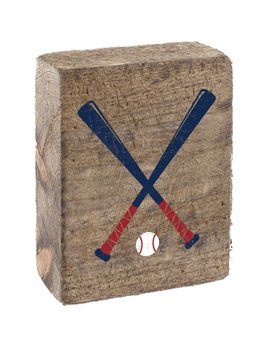 Natural Tumbling Block, Navy & Red Baseball Bats