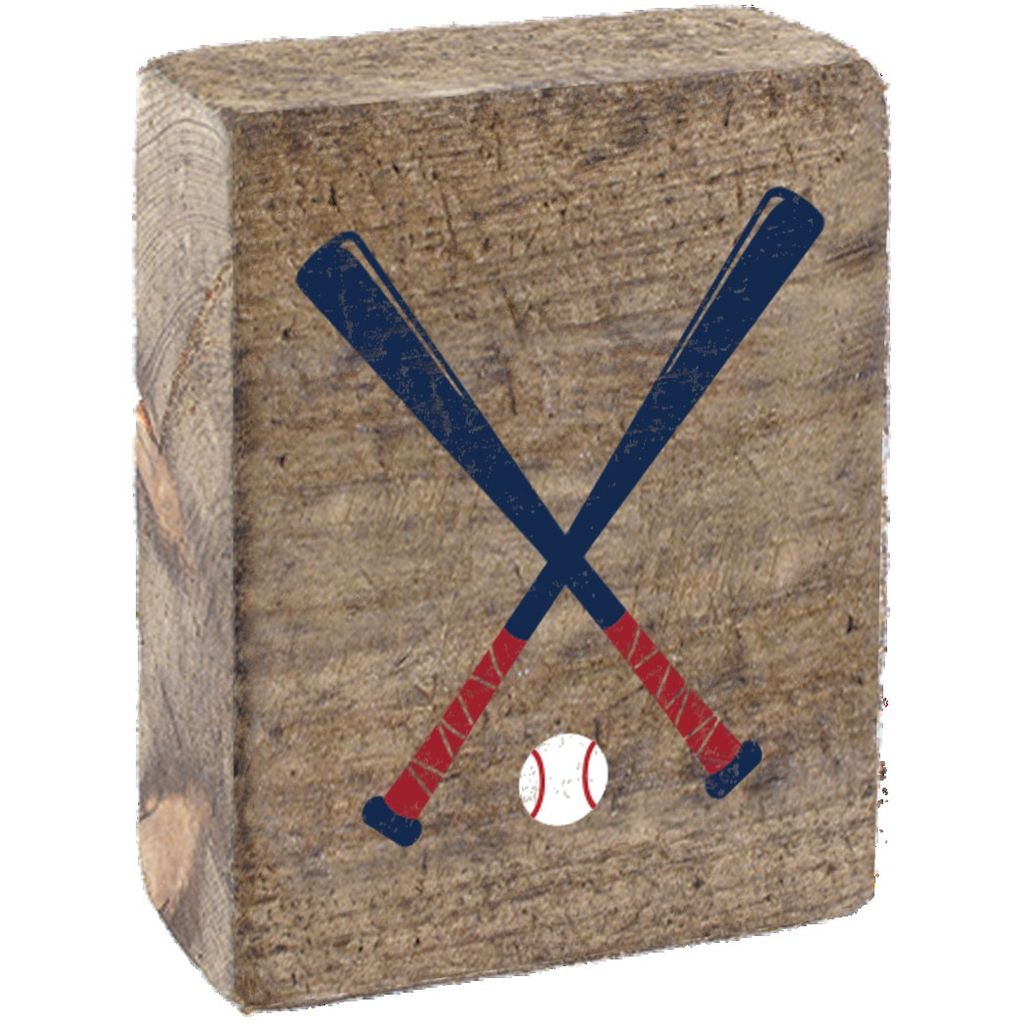 Natural Tumbling Block, Navy & Red Baseball Bats
