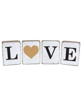 Rustic Block Bundle Love Heart Antique - White, Black, Gold - Set of 4