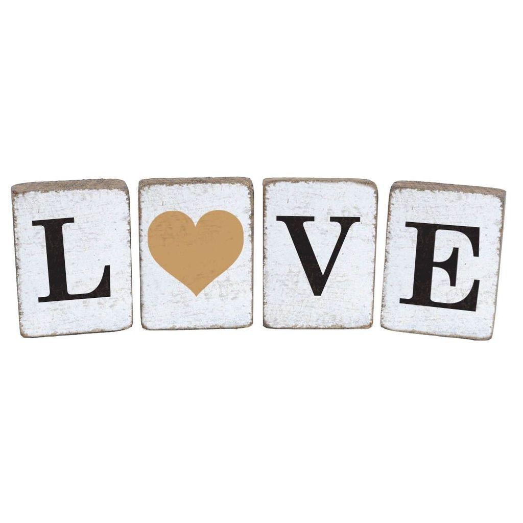 Rustic Block Bundle Love Heart Antique - White, Black, Gold - Set of 4
