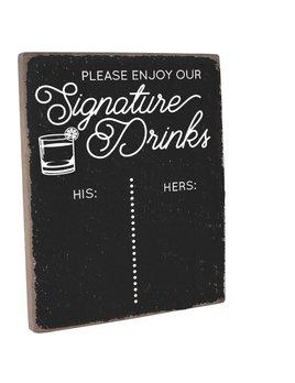 Signature Drinks  Vintage Plank Chalkboard