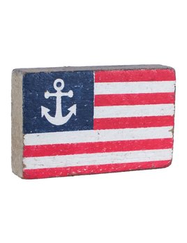 XL American Flag Block with Anchor