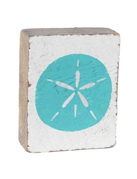 White Tumbling Block, Sea Glass Sand Dollar