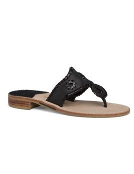 Jack Rogers Palm Beach Sandal - Black with Black Patent Leather