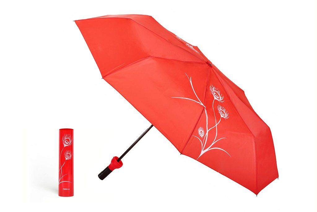 Umbrella Wine Bottle Umbrella - Red Peacock