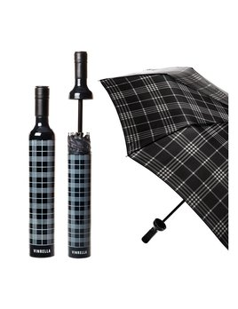 Umbrella Wine Bottle Umbrella - Black Plaid