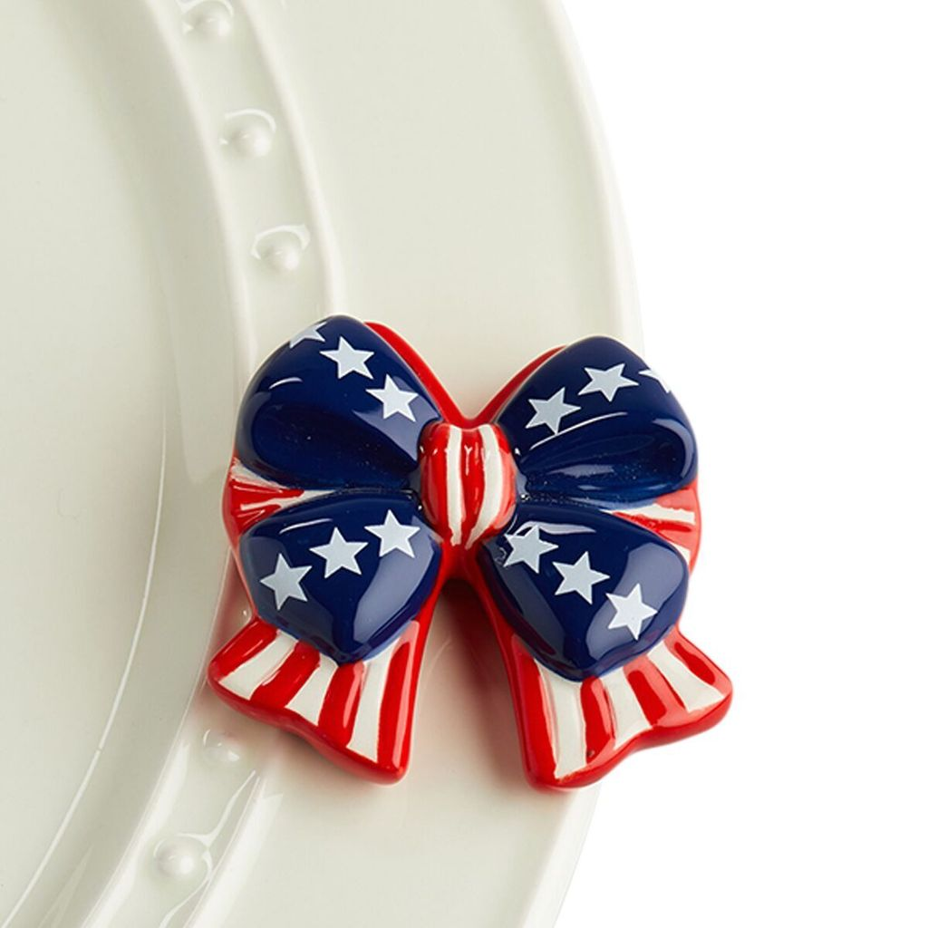 Minis Attachment Nora Fleming Minis - Red, White, & Blue Flag Bow