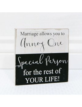 Sign Marriage Allows Wooden Block Sign