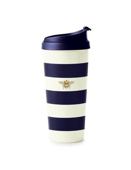 Mug Kate Spade New York Thermal Mug - Navy Stripe with Bee