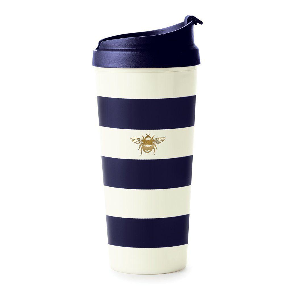 Mug Kate Spade New York Thermal Mug - Navy Stripe with Bee