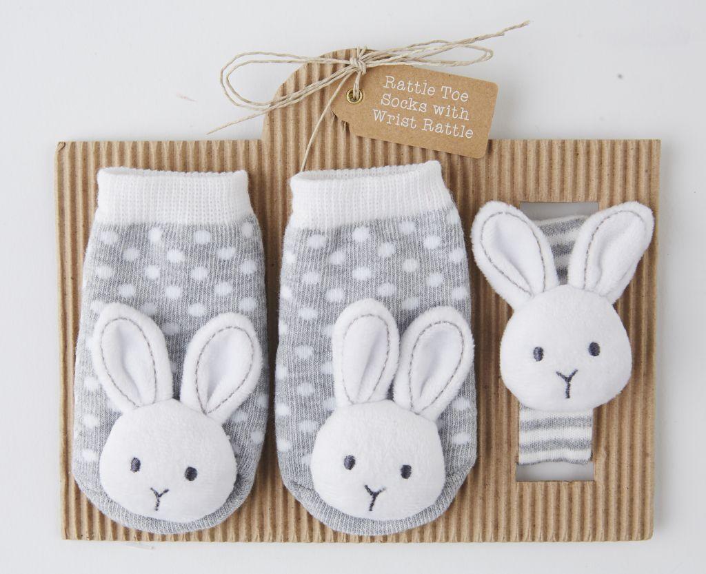 Bunny Wrist Rattle & Sock Set