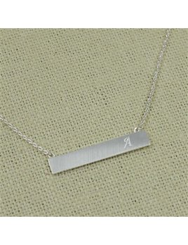Necklace Silver Bar Initial Necklace by Cool and Interesting