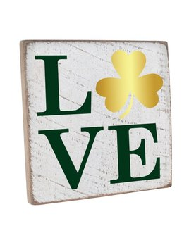Sign Shamrock Love Vintage Square